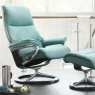 Stressless View Medium Chair & Stool Signature Base 7